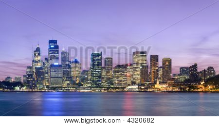 Sydney Skyline At Dusk With Deep Pink Sky