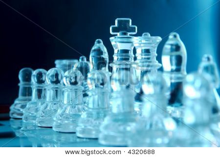 Chess Pieces In Row Blue