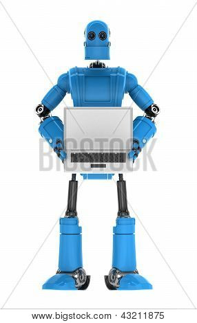 Robot Holding Laptop With Copyspace Available On The Computer Screen