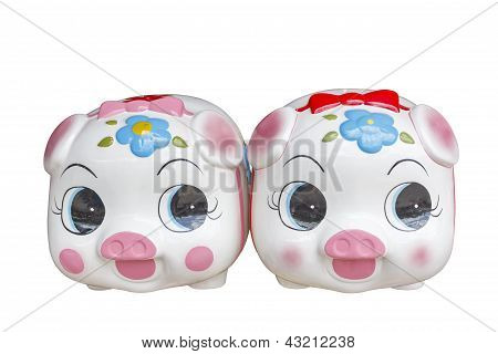 Ceramic piggy bank , with clipping path