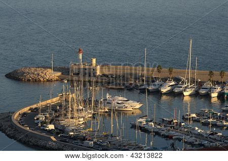 Port of menton and lighthouse
