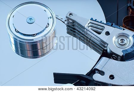 Hard Disk Detail With A Blue Hue