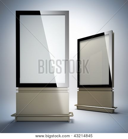 Blank vertical billboards. 3D illustration of blank template layout empty metal billboards with black frame.