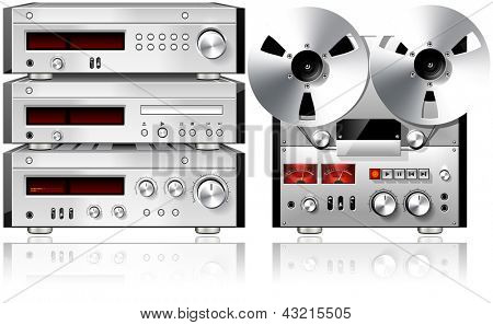 Analog Music Stereo Audio Components Vintage Rack Isolated Illustration