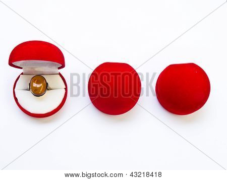 Opened Round Red Jewelry Boxes Isolated On White Background