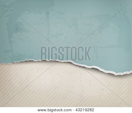Old Background With Ripped Paper And Old Wall. Vector Illustration