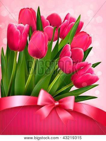 Holiday Background With Pink Flowers And Gift Bow With Ribbon. Vector