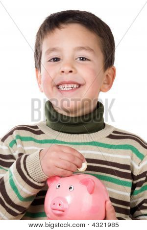 Adorable Child With Moneybox Savings