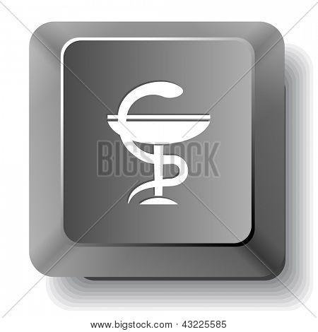 Pharma symbol. Raster computer key.