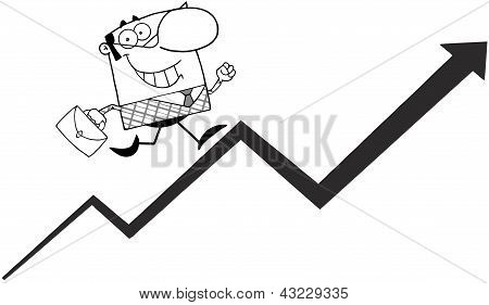 Outlined Business Manager Running Upwards On A Statistics Arrow