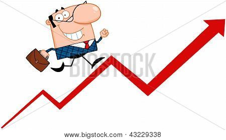 Business Manager Running Upwards On A Statistics Arrow