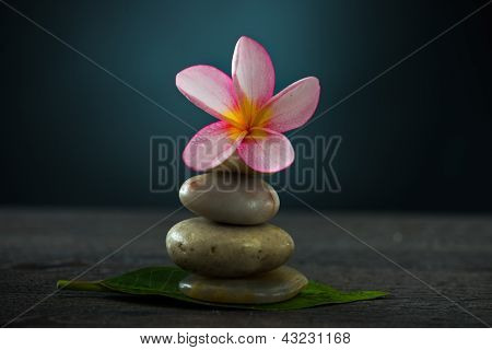 Spa Concept In Dark Background With  Ambient Lights And Cold Stones