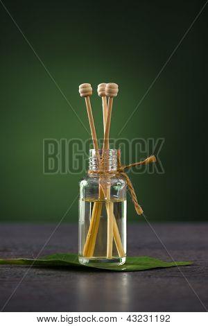 Aromatherapy Fragrance  Oil On A Frangipani Leaf