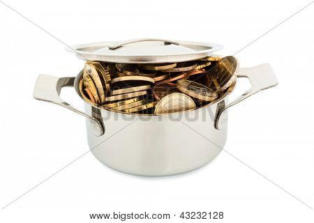 a pressure cooker is well filled with euro coins, symbolic photo for funding