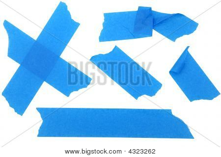 Strips Of Blue Paint Or Masking Tape