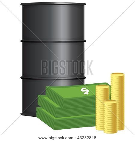 Oil barrel with stack of money and coins