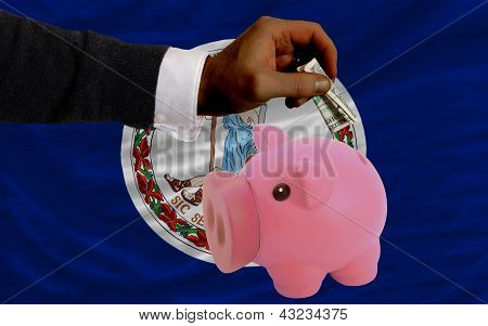 Dollar Into Piggy Rich Bank And  Flag Of American State Of Virginia