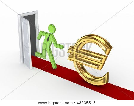 3d small person running to a euro sign.