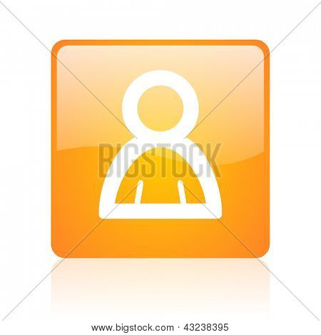account orange square glossy web icon