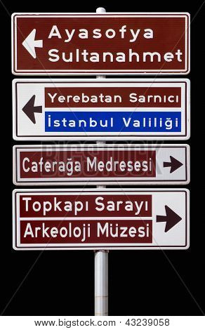Isolated traffic signpost in Istanbul Turkey