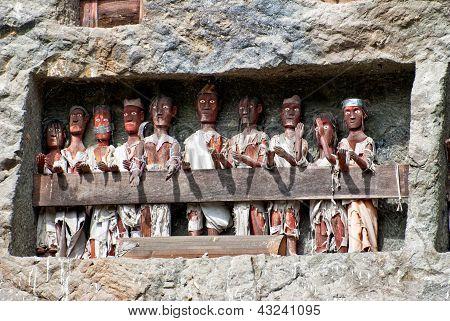 Tau Tau Statues In Lemo, Indonesia
