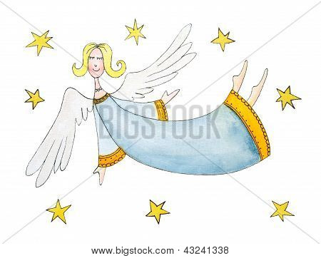 Angel with stars, child's drawing, watercolorwith stars child's drawing watercolor painting on paper
