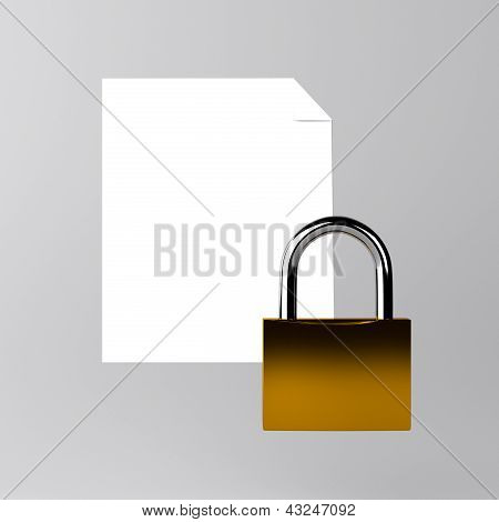 Sheet of paper and a lock icon