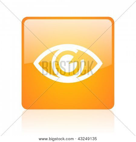 eye orange square glossy web icon