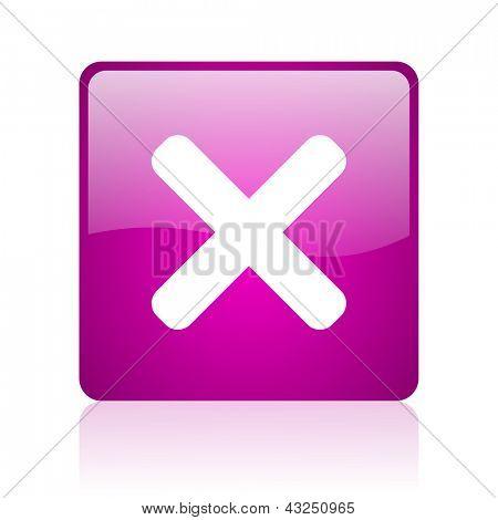 cancel violet square web glossy icon