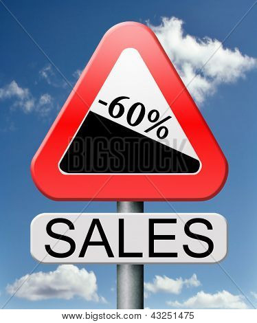 sale 60% off winter off for summer sales text on road sign concept for online web shop internet shopping icon or button. Bargain discount or reduction for extra low price promotion.