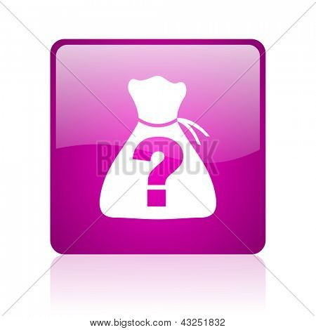 riddle violet square web glossy icon