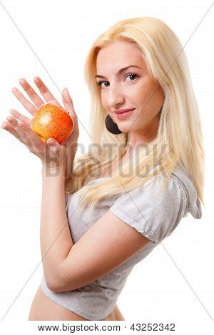 beautiful blonde girl with red apple