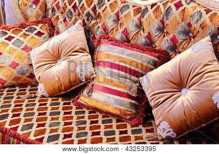 Beautiful pillows on a magnificent sofa