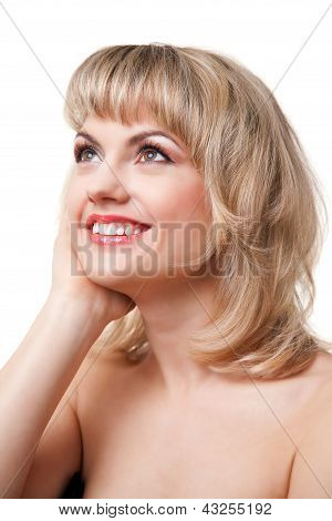 smiling woman face on white background