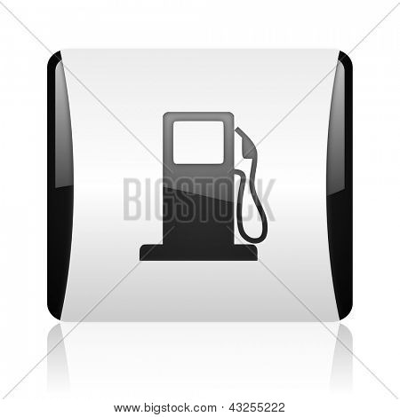 fuel black and white square web glossy icon