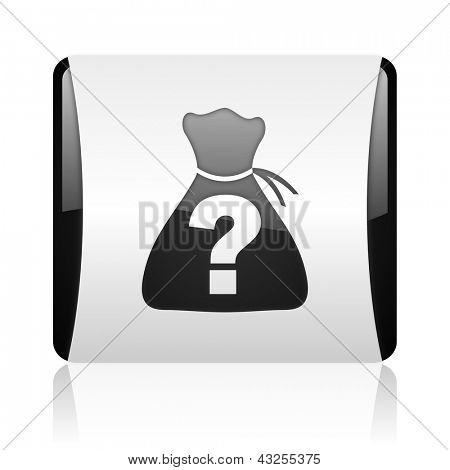 riddle black and white square web glossy icon