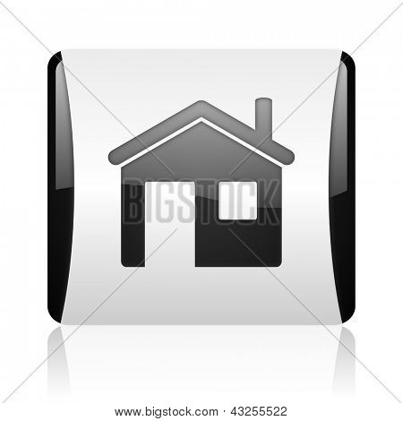 home black and white square web glossy icon