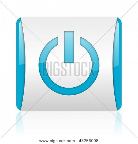 power blue and white square web glossy icon