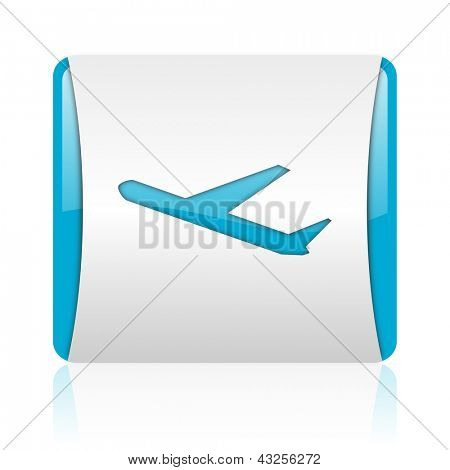 airplane blue and white square web glossy icon