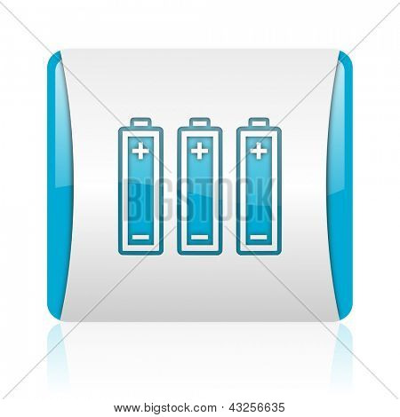 batteries blue and white square web glossy icon