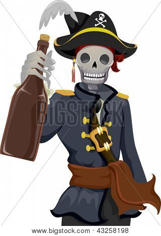 Illustration of a Uniformed Pirate Holding a Bottle of Rhum