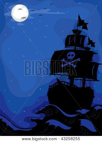Illustration of a Pirate Ship sailing at Night