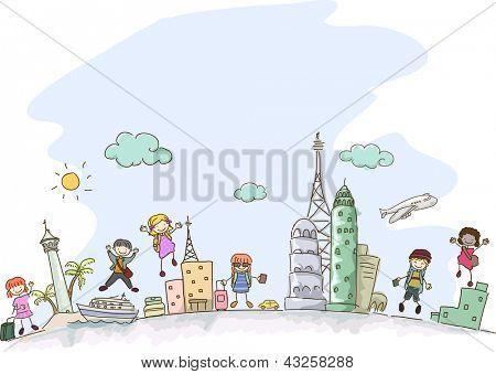 Abbildung der Stickman-Kinder Reisen mit einigen Szenen aus verschiedenen Teilen der Welt