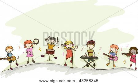 Illustration of Multi-racial Kids playing different musical instruments