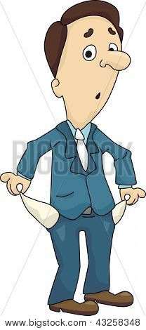 Illustration of a Man holding his empty pocket inside out