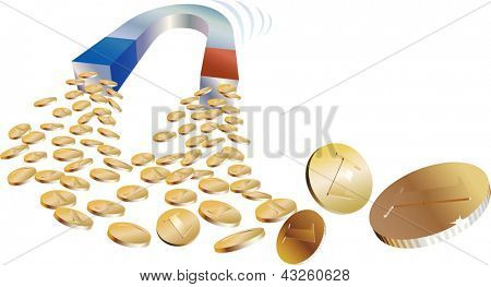 Concept of attractive investment. Golden coins caught by a money magnet. Raster image. Find an editable version in my portfolio.
