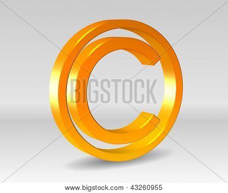 An illustration of golden copy right symbol
