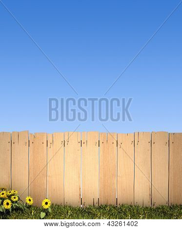 3D rendering of a wooden fence and a blue sky, ideal for inserting a message or image