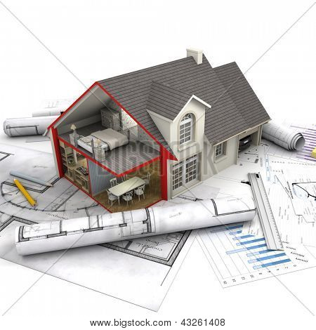 House with open interior on top of blueprints, documents and mortgage calculations