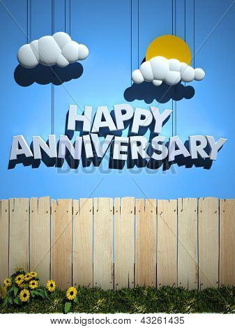 3D rendering of a wooden fence with a blue sky and happy anniversary with sun and clouds hanging from strings